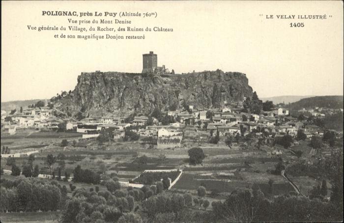 Polignac Haute-Loire vue generale du Village du Rocher des Ruines du Chateau Donjon restaure / Polignac /Arrond. du Puy