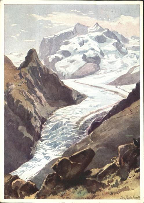 wz04764 Zermatt VS Kuenstlerserie Zermatt, Aquarell Edo v. Handel-Mazzetti Kategorie. Zermatt Alte Ansichtskarten