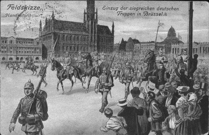 Bruxelles Bruessel Einzug deutscher Truppen /  /