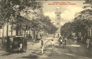 Ceylon = Sri Lanka Chatham street Fort Lighhouse Colombo Kat.