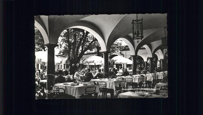 Salzburg Oesterreich Gasthaus Sternebraeu Gastgarten Kat. Salzburg