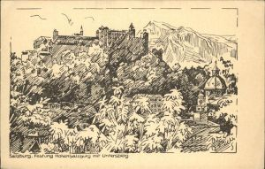 Salzburg Oesterreich Festung Hohensalzburg Untersberg Zeichnung Kat. Salzburg