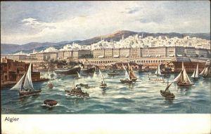 Alger Algerien Teilansicht Hafen Segelboote Kuenstlerkarte / Algier Algerien /
