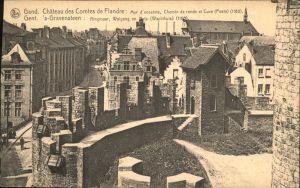 Gent Gand Flandre Chateau des Comtes de Flandre mur d enceinte chemin de ronde et cuve Kat.