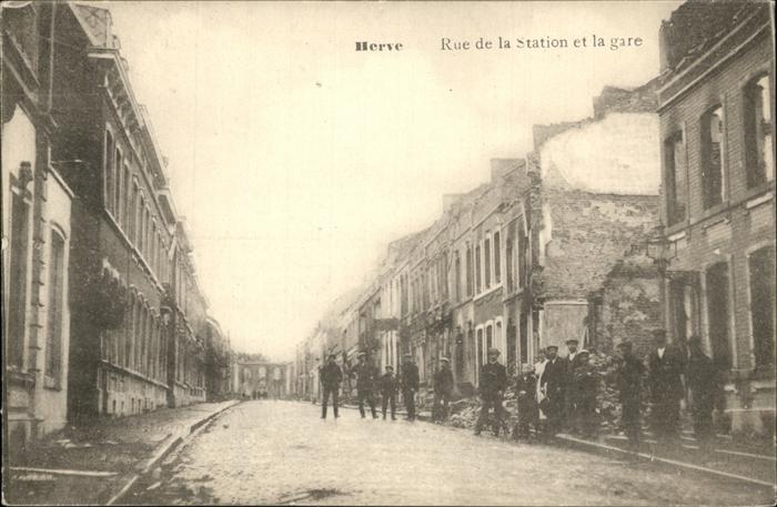 Herve Rue de la Station et la Gare Maenner zerstoert Kat.