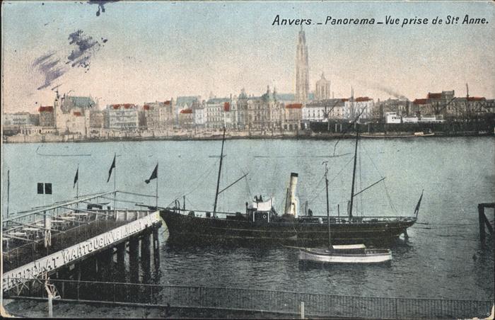 Anvers Antwerpen Panorama St. Anne Dampfschiff /  /