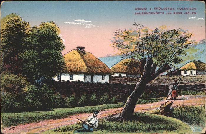 Polen Bauerngehoefte in Russ Polen Feldpost Kat. Polen