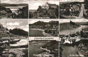 Edertal Edertalsperre Schloss Waldeck u.Sperrmauer / Edertal /Waldeck-Frankenberg LKR