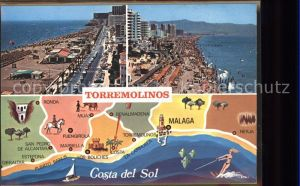 Torremolinos Vista general Playa Mapa Strand Landkarte Kat. Costa del Sol Spanien