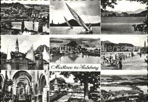 Mattsee Salzburg Ortsansichten Segelsportler Strand Kirche Kat. Mattsee