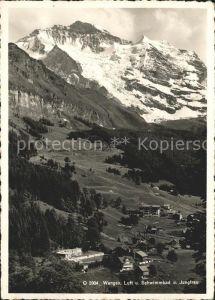 Wengen BE Fliegeraufnahme Luft  und Schwimmbad Jungfrau Kat. Wengen