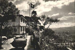 Meldegg Walzenhausen AR Berggasthaus Terrasse Flagge Blick ins Vorarlberg Kat. Walzenhausen