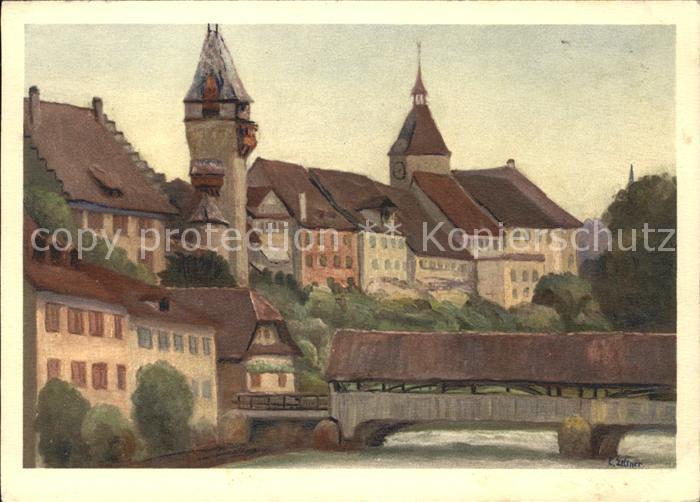 Aargau Kanton Bremgarten Kuenstlerkarte C. Zeltner Kat. Aarau