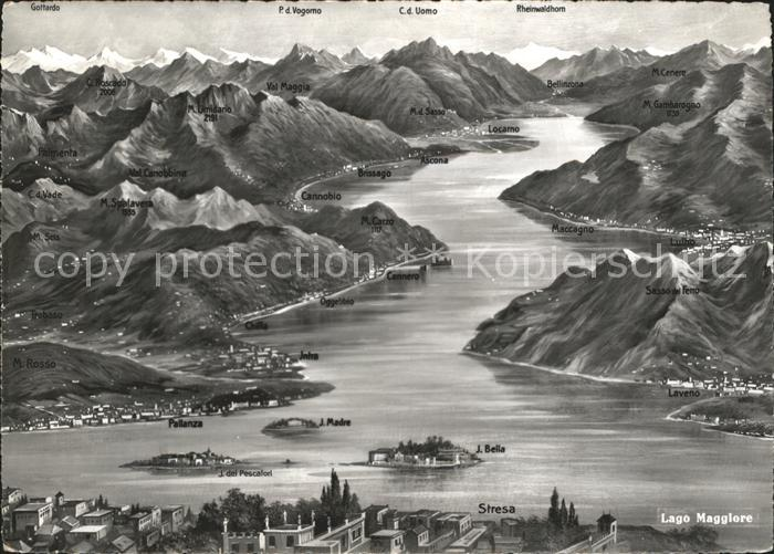 Lago Maggiore Panoramakarte mit Inseln Kat. Italien