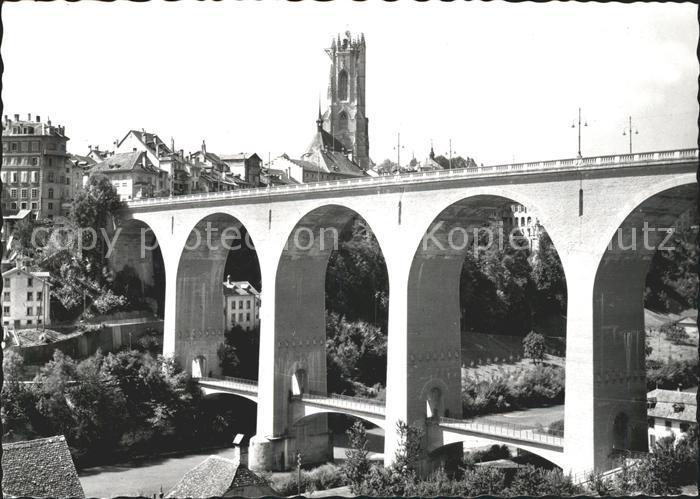 Fribourg FR Pont de Zaehringen et Tour St Nicolas Kat. Fribourg FR