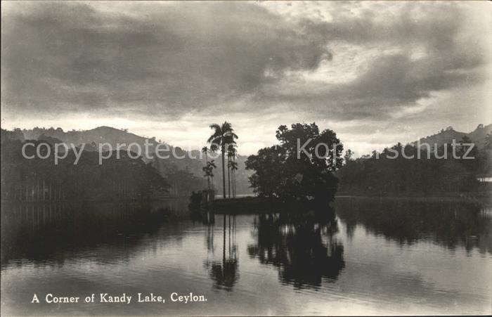 Ceylon = Sri Lanka Corner of Kandy Lake Panorama Kat.