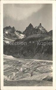 Klosters GR Gross Litzner mit Seehorngruppe vom Silvrettagletscher Kat. Klosters