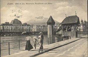 Luzern LU Kapellbruecke Wasserturm Hotel du Lac Promenade Pilatus / Luzern /Bz. Luzern City