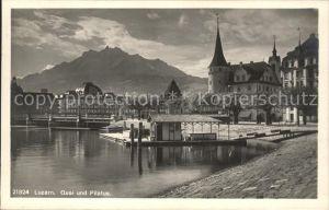 Luzern LU Quai und Vierwaldstaettersee Pilatus  / Luzern /Bz. Luzern City