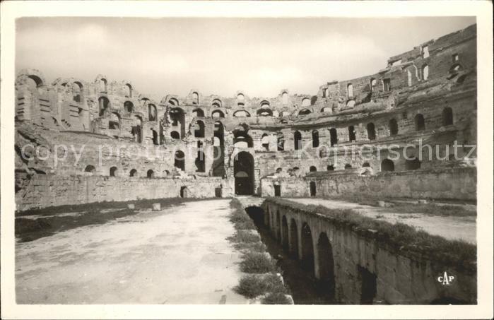 El Djem Interieur du Theatre Romain Historische Staette Kat ...