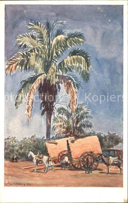 El Salvador Kuenstlerkarte Palmeras y Carretas Kat. El Salvador