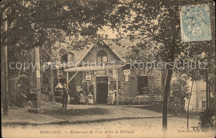 Robinson Vergnuegungspark Restaurant du Vrai Arbre de Robinson Stempel auf AK Kat. Sceaux