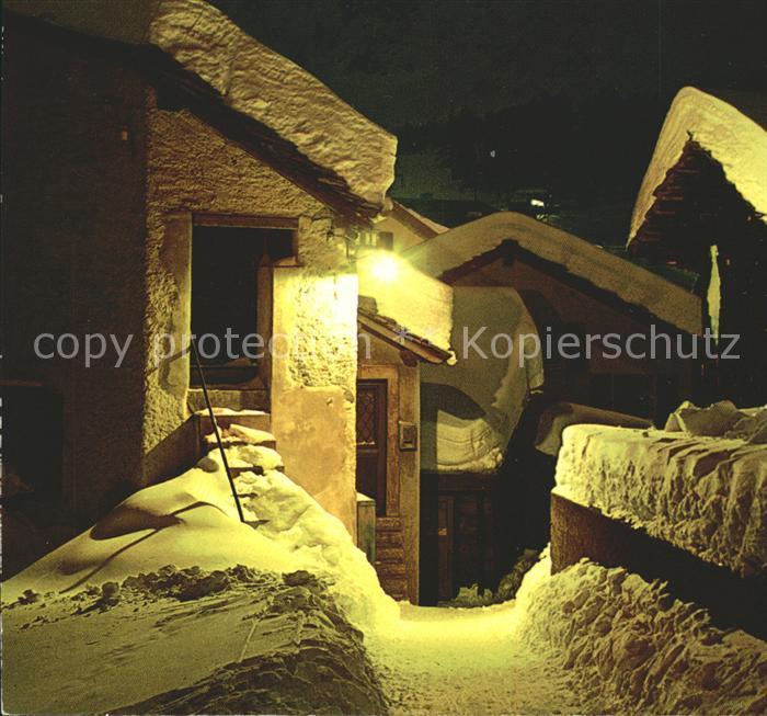 Leukerbad Winternacht im Bergdorf Kat. Loeche les Bains