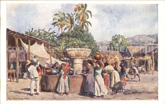El Salvador Kuenstlerkarte Max Vollmberg Pozo en Jucuapa Kat. El Salvador