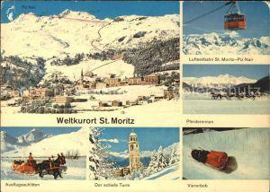 St Moritz GR Gesamtansicht Luftseilbahn Pferdeschlitten Schiefer Turm Viererbob Kat. St Moritz