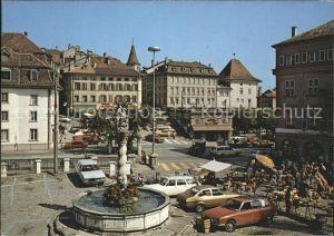 Fribourg FR La place de l Hotel de Ville et lac place de Tilleul Kat. Fribourg FR