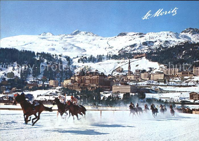St Moritz GR mit Corviglia und Piz Nair Pferderennen im Schnee Kat. St Moritz
