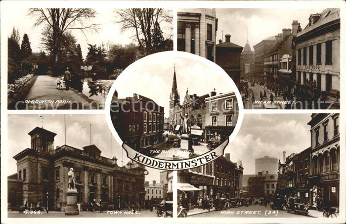 Kidderminster Brinton Park Vicar Street High Street Town Hall Bull Ring Monument Kat. Worcestershire