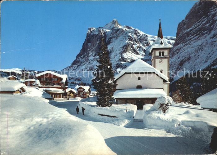 Grindelwald Dorfpartie mit Kirche und Wetterhorn Kat. Grindelwald