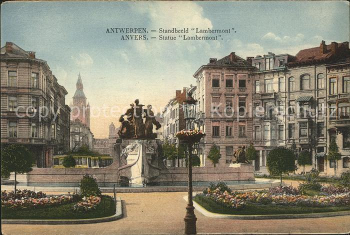 Anvers Antwerpen Statue Lambermont Monument Kat.