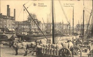 Anvers Antwerpen Quai flamand Bateaux Pferdefuhrwerk Kat.