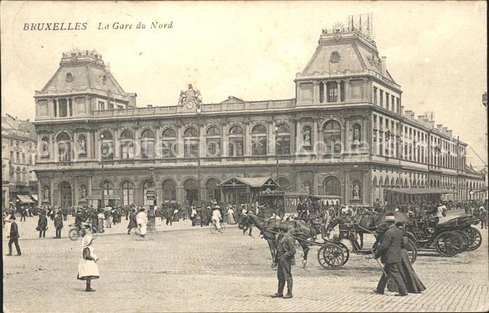 Bruxelles Bruessel Gare du Nord Bahnhof Pferdekutschen Kat.