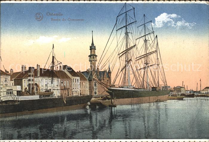 Ostende Flandre Bassin du Commerce Segelschiff Kat.
