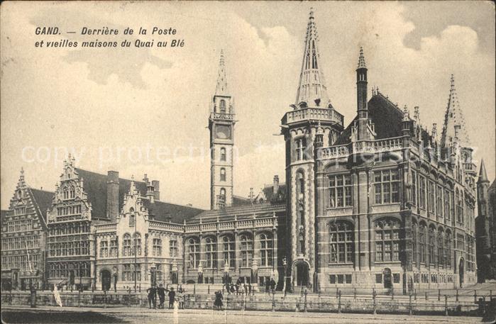 Gand Belgien Derriere de la Poste Vieilles maisons du Quai au Ble Kat. Gent Flandern
