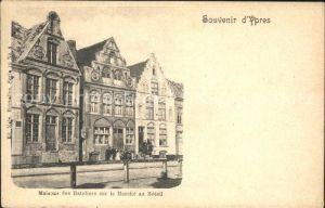 Ypres Ypern West Vlaanderen Maisons des Bateliers sur le Marche au Betail Kat.
