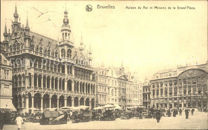 Bruxelles Bruessel Maison du Roi et Maisons de la Grand Place Marche Kat.