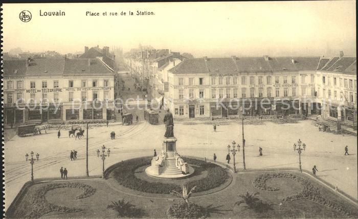 Louvain Loewen Flandre Place et Rue de la Station Monument Kat.