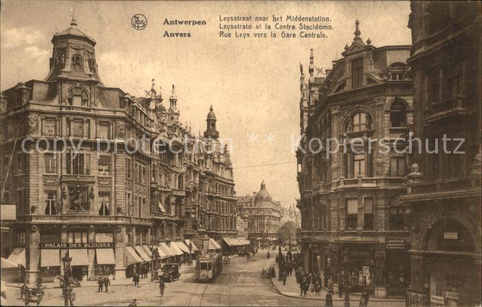 Anvers Antwerpen Rue Leys vers la Gare Centrale Kat.