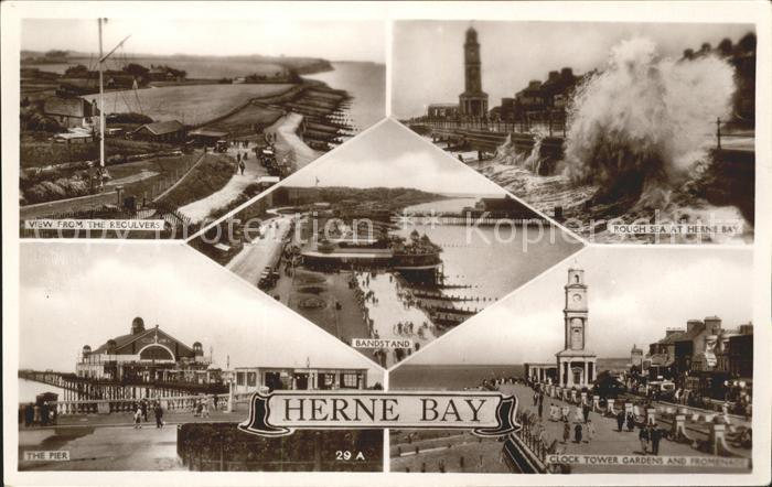 Herne Bay Panorama Rough Sea Pier Clock Tower Gardens and Promenade Bandstand Excel Series / City of Canterbury /