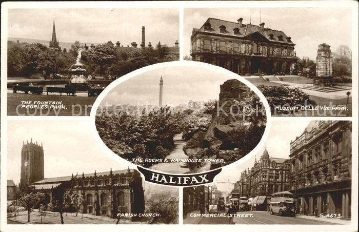 Halifax Calderdale Fountain Park Museum Parish Church Commercial Street Rocks and Wainhouse Tower Valentines Post Card