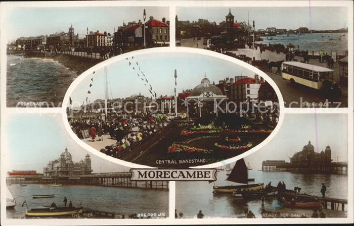 Morecambe Lancashire Promenade Pier Central Bandstand Sailing Boat Valentines Post Card Kat. City of Lancaster