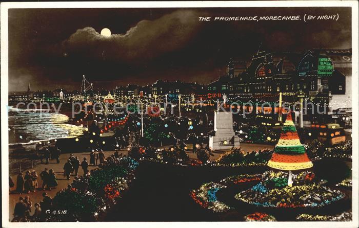 Morecambe Lancashire Promenade by night Valentine s Post Card Kat. City of Lancaster