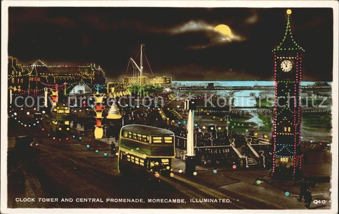 Morecambe Lancashire Clock Tower and Central Promenade illuminated Moonlight Excel Series Kat. City of Lancaster