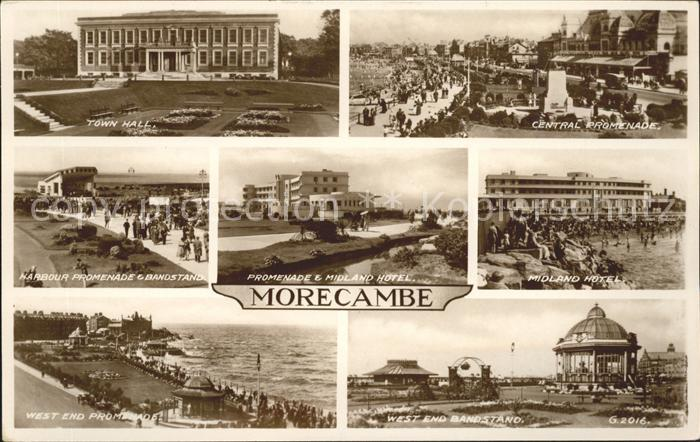 Morecambe Lancashire Town Hall Promenade Bandstand Midland Hotel Pavilion Valentine s Post Card Kat. City of Lancaster