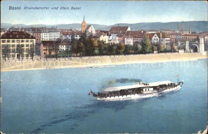 Basel BS Rheindampfer Klein Basel Litho Kat. Basel