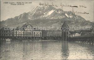 Luzern LU Hotel du Lac mit Kapellturm und Pilatus / Luzern /Bz. Luzern City